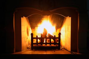 beautiful fireplace burning wood